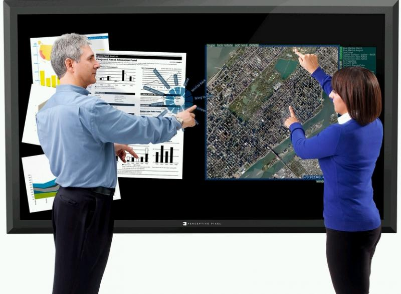 "Perceptive Pixel's 82-inch multi-touch display is one example of ""wall computing"""