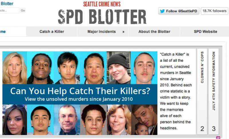 The front page of the Seattle Police Department's revamped blog.