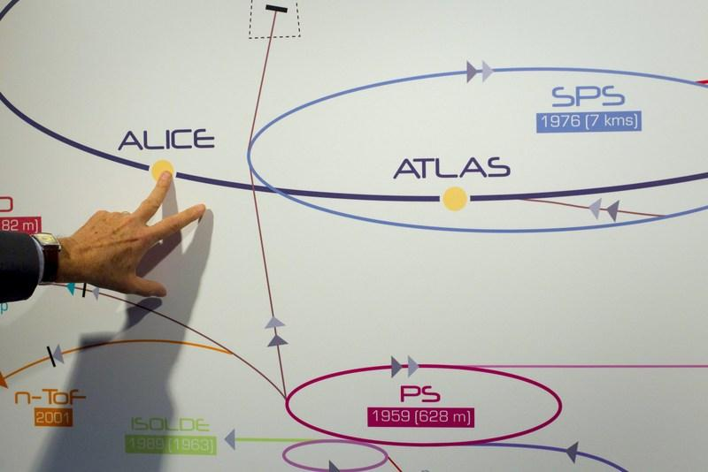 A physicist explains the ATLAS experiment on a board at the European Center for Nuclear Research, CERN, outside Geneva, Switzerland in 2011. The illustration shows what the long-presumed Higgs boson particle is thought to look like.