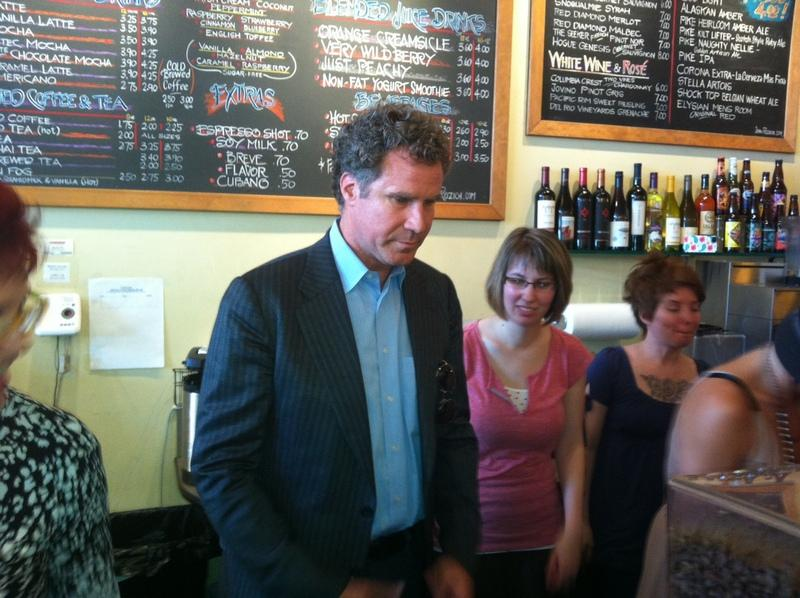 "Will Ferrell at a Seattle cafe on Thursday serving coffee to promote his new movie ""The Campaign."""