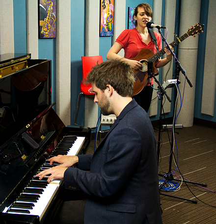 "Taylor Eigsti (left) and Becca Stevens rehearse ""In the Midst"" before performing live on KPLU May 16, 2011."