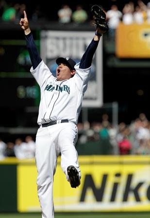 Mariners pitcher Felix Hernandez reacts after throwing a perfect game against the Tampa Bay Rays Wednesday at Safeco Field. The Mariners won 1-0.