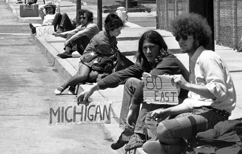 Hippies looking for a ride in 1971.