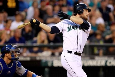 The Mariners' John Jaso singles in a run against the Toronto Blue Jays Aug. 1, at Safeco Field. With a 5-3 win, the Mariners now have a seven-game winning streak.