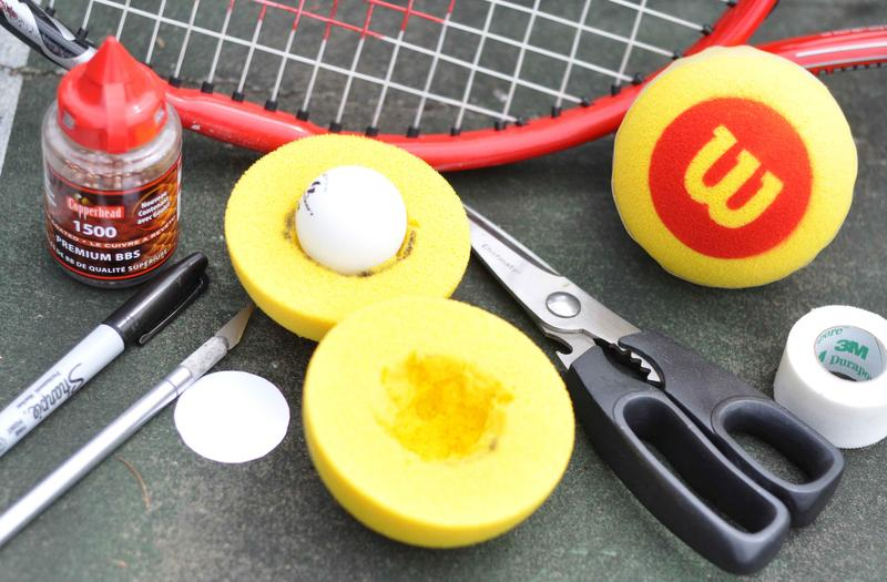 All the supplies need to create your own tennis ball for the blind.