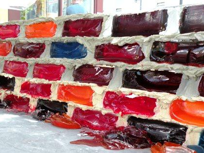 Jell-O brick wall under construction at the Seattle Center grounds near the Monorail station.