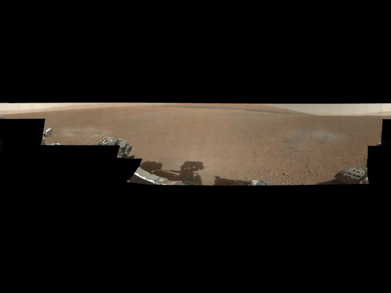 This is the first 360-degree panorama in color of the Gale Crater landing site taken by NASA's Curiosity rover.