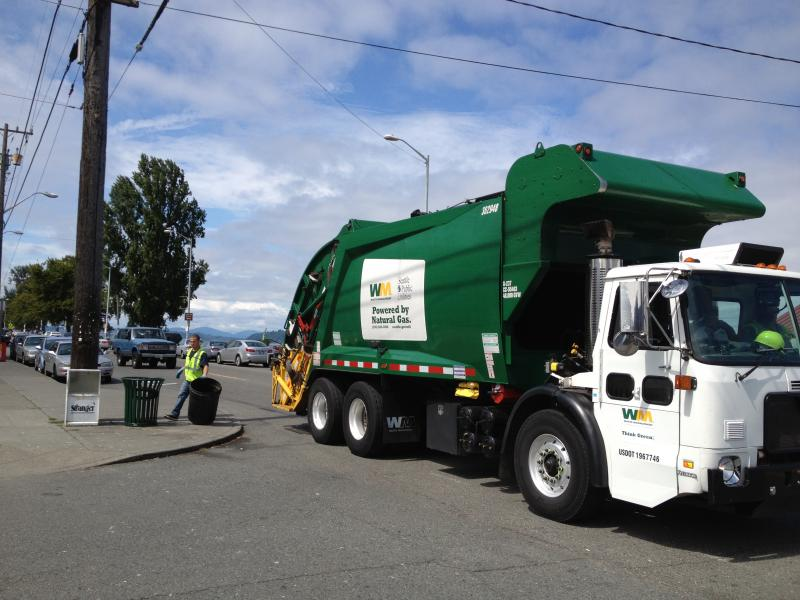 A Waste Management truck near Alki Beach in West Seattle