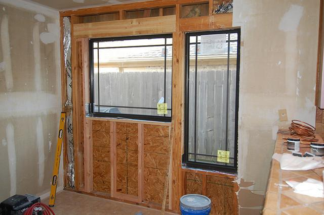 Remodeling breakfast nook windows.