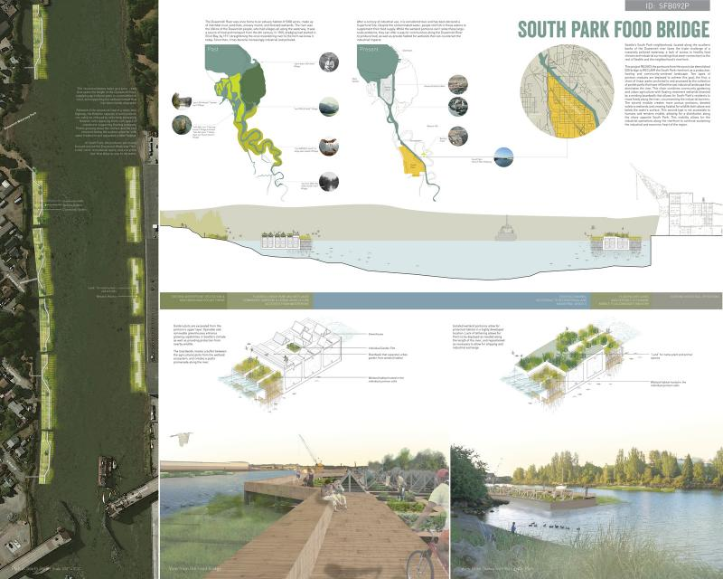 "The ""South Park Food Bridge"" – submitted by David Dahl and Nicole Lew, both of Seattle – would span parts of the Duwamish River waterfront with parks and gardens."