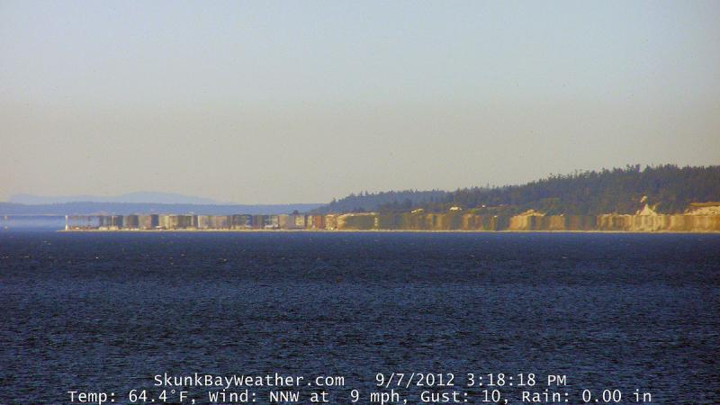 "Weather aficionado Greg Johnson calls this image looking at Bush Point from his home in Hansville on the Kitsap Peninsula the ""Bush Point Condos."""