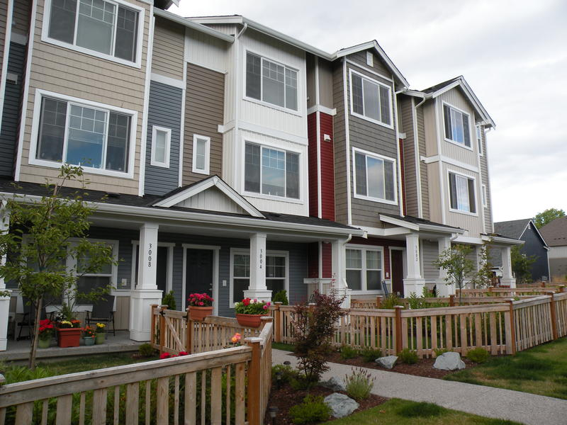 Homes in the High Point mixed-income community in West Seattle are designed to foster interaction with low fences and front porches
