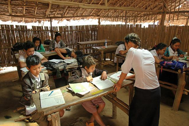 Teaching migrant children on Thai-Burma border.
