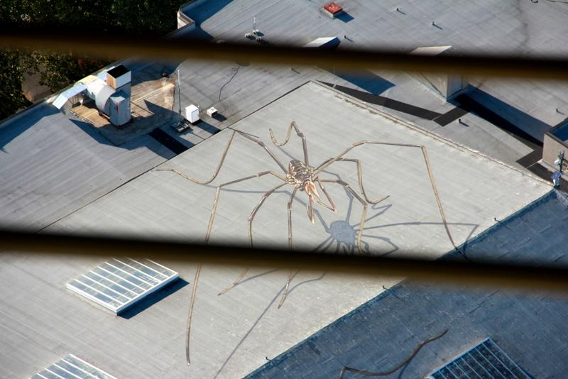 One of two giant harvestmen painted on a roof at the Seattle Center, as seen from the Space Needle.