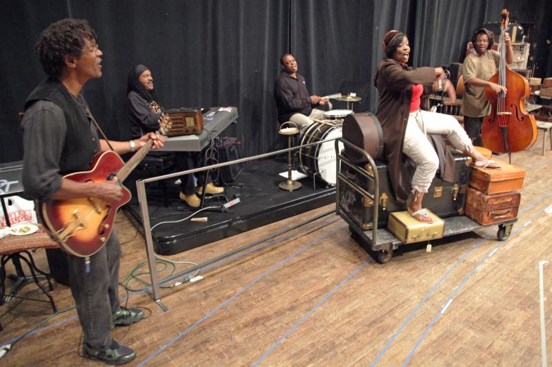 """Pullman Porter Blues"" at the Seattle Rep features a blues band, shown here in rehearsal."