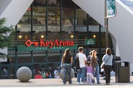 Fans filing into KeyArena for a Seattle Storm game.