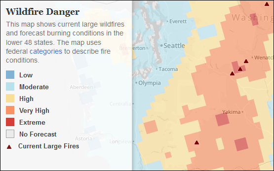 "<a href=""http://http://apps.npr.org/fire-forecast/"">This map from NPR</a> shows current large wildfires and forecast burning conditions in the region."