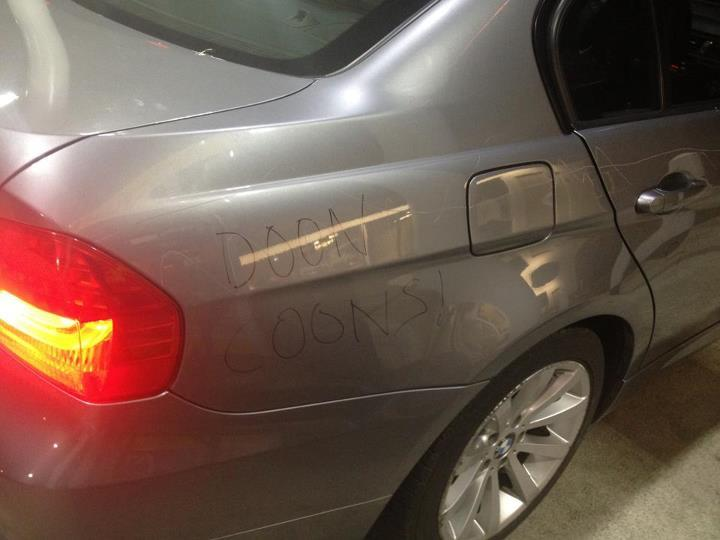 The car driven by a group of young Muslims was vandalized with ethnic slurs, scratches and vulgar pictures.