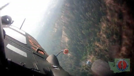 Screen grab from the Washington National Guard video showing its air-to-ground firefighting efforts near Wenatchee.