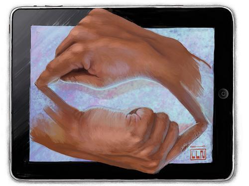 """Joseandrés Guijarro's iPad tribute to M.C. Escher's """"Drawing Hands"""""""