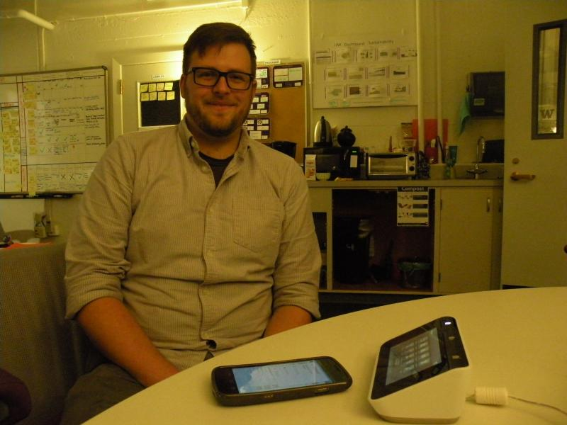 Duncan Clausen, a grad student of public policy and environmental studies, helped design the smart meters. He'll speak alongside U.S. Senator Maria Cantwell at a kick-off event Wednesday, Oct 24.