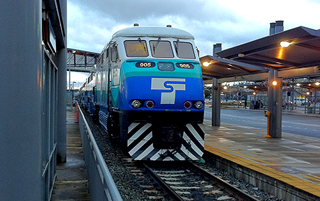 The Sounder commuter train idle at the Everett Station.