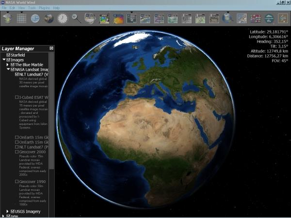 The earth as viewed in NASA's World Wind browser
