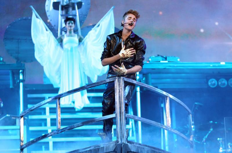 Musician Justin Bieber performs during the Believe Tour at Staples Center on Oct. 2 in Los Angeles.
