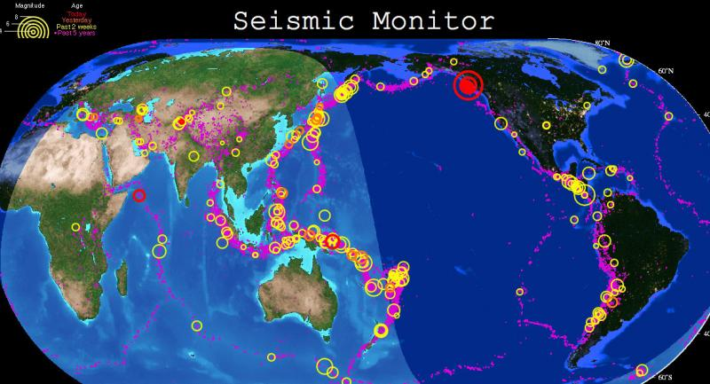 Pretty easy to see where the latest strong earthquake was in this screen grab of the real-time earthquake map by the Incorporated Research Institutions for Seismology.