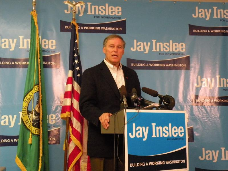 Jay Inslee at a press conference on Wednesday, November 7, 2012. He says he wants to hit the ground running, so he is assembling staff before he officially wins the race to become Washington's next governor.