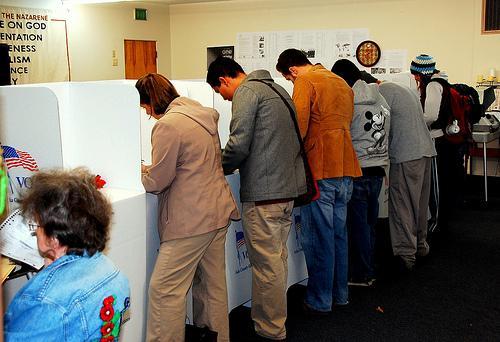Voting in Boise, Idaho, in 2008.
