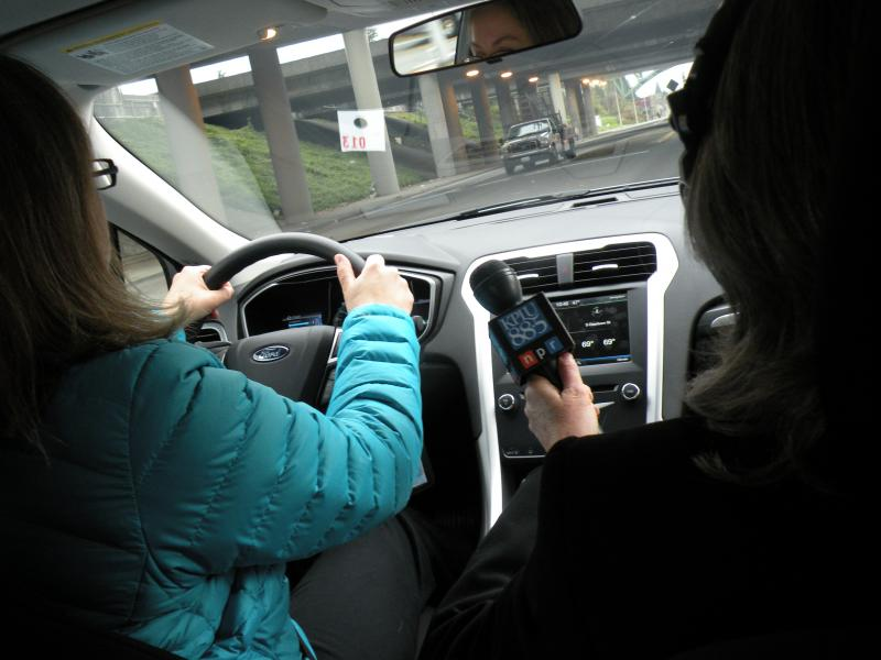 KPLU's Bellamy Pailthorp test driving the 2013 Ford Fusion hybrid in Seattle
