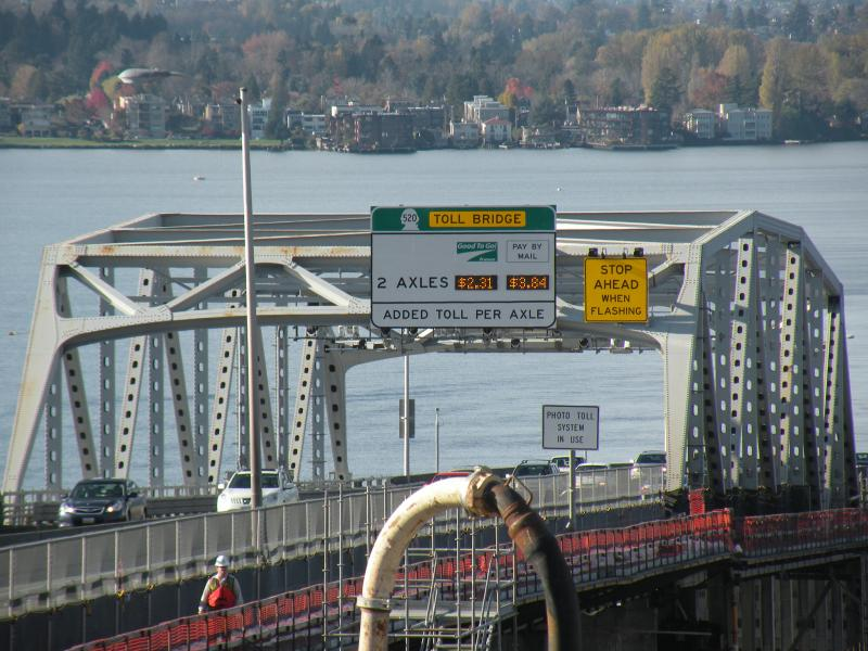 Tolls on the old bridge are helping pay for work to build the new one, which is expected to open for drivers by summer 2015.