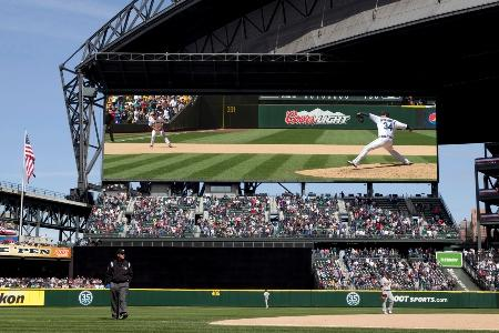 In this computer rendering provided by the Seattle Mariners, a new high definition video display screen is seen where it will replace the current center field scoreboard at Safeco Field.