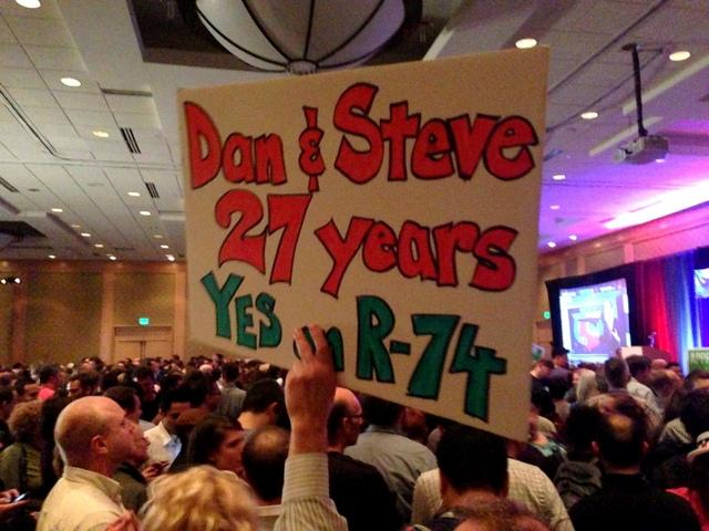 Dan Coles & Steve Lelievre of seattle's Ballard neighborhood cheer on fellow Ref 74 supporters at the Westin Hotel on Tuesday night.