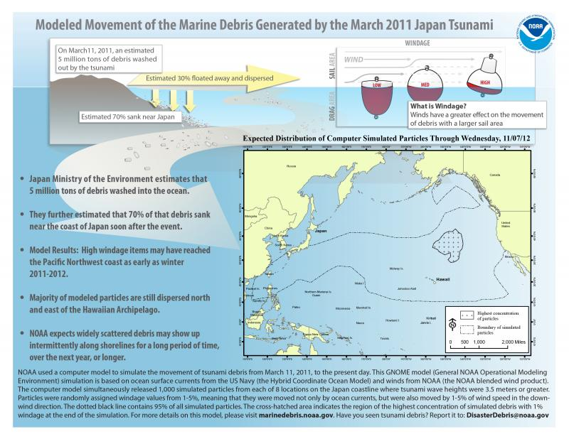 The latest projection by NOAA of where the tsunami debris might be.