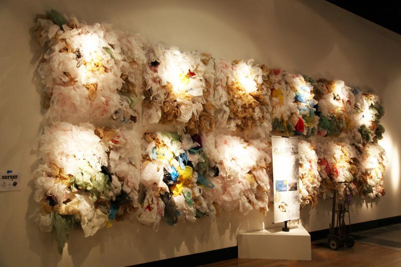 "Bales of hundreds of disposable plastic bags show the rate at which we use them: 3,000 per every quarter of a second in the United States, say the Burke museum curators who created several of these ""statistical sculptures"" for their new traveling show."