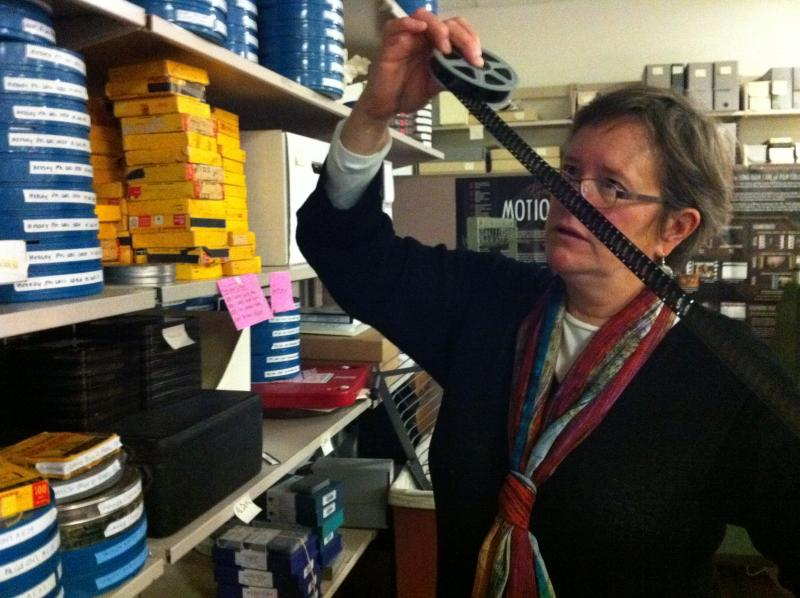 Hannah Palin, a film archives specialist at the University of Washington, hard at work. Archivists are meeting in Seattle this week.