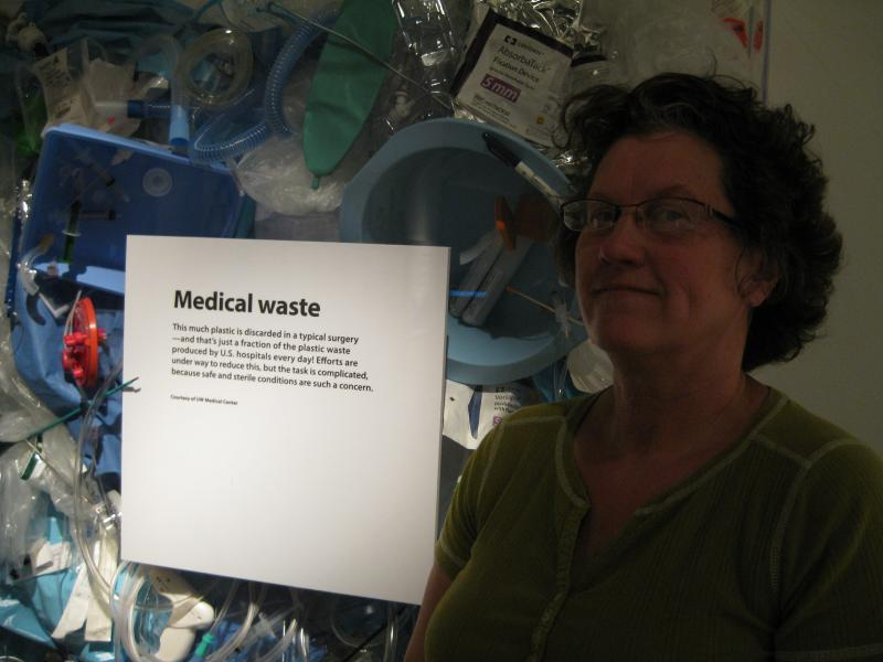 Artist Donna Keyser, from Twisp, built the statistical sculptures, including this collage of medical devices. She says the level of compact machinery and innovation amazed her.