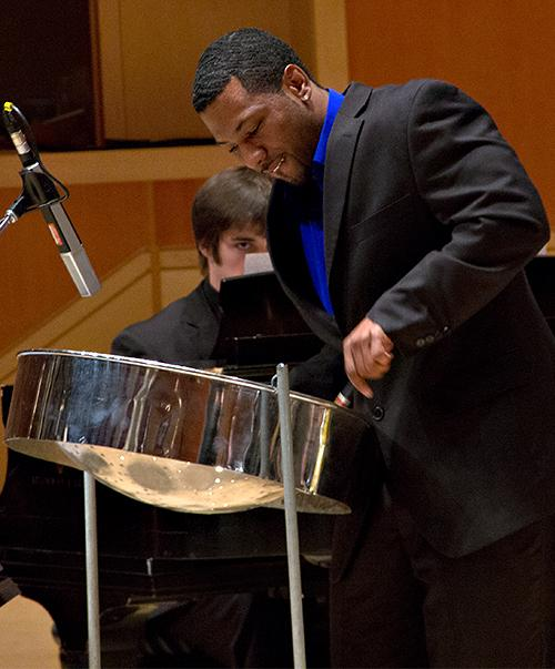 Guest musician, and PLU admissions counselor Obe Quarless performing on Trinidadian steel drums with the PLU Jazz Ensemble on December 6, 2012.