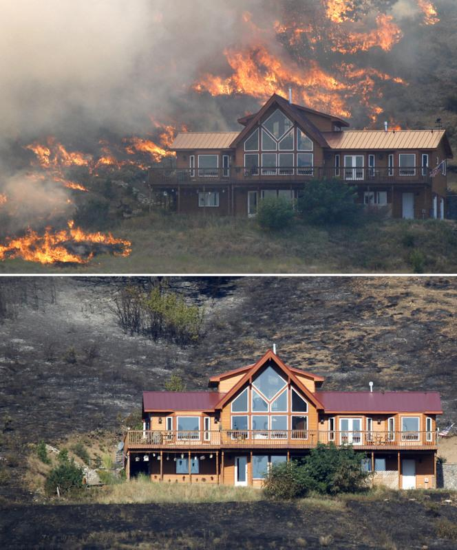 This photo combination shows a house on a hillside above Bettas Road near Cle Elum, Wash., surrounded by flames on Aug. 14, top, and on Wednesday, Aug. 15, 2012, bottom. the house survived the fire because of the defensible space around the structure.