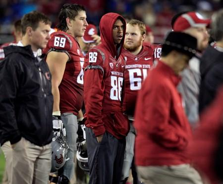 This Oct. 13, 2012 file photo shows WSU wide receiver Marquess Wilson (86) standing on the sidelines.