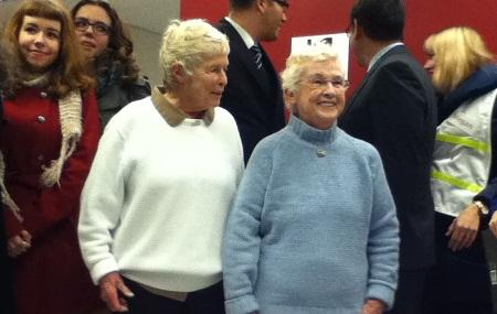 Jane Abbott Lighty and Pete-e Petersen receive the first marriage licenses issued by King County to a same-sex couple