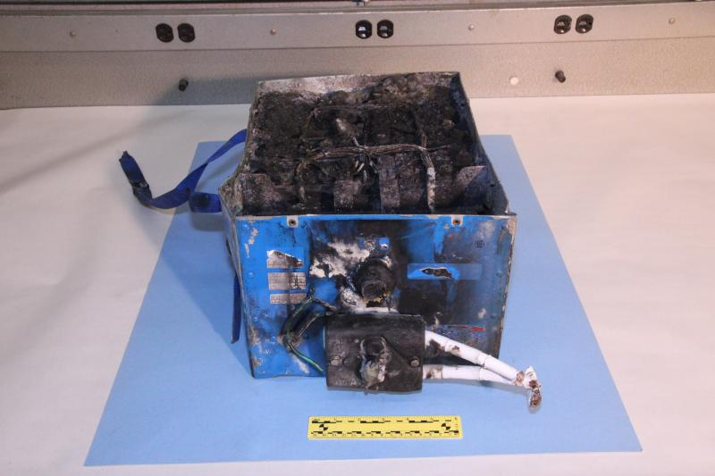 The burned auxiliary power unit battery on the JAL 787 that is being investigated by the NTSB