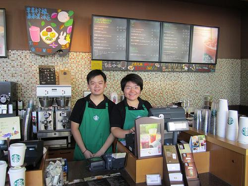 Workers at a Starbucks in Wuhan, China