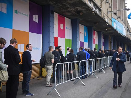 People in line in New York for the Windows 8 launch in October 2012