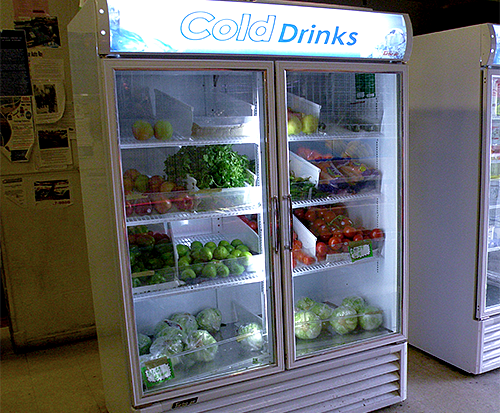 "Fresh produce has replaced ""Cold Drinks"" at Fresh and Green Market in Tukwila."