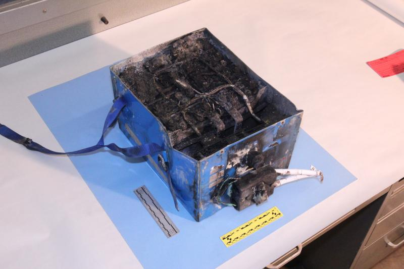 This burned battery was in a JAL Boeing 787 that caught fire on Jan. 7 at Boston's Logan Airport