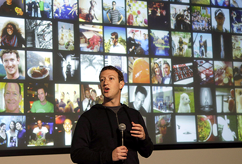 "CEO Mark Zuckerberg introduces ""graph search"" at Facebook headquarters on Tuesday."