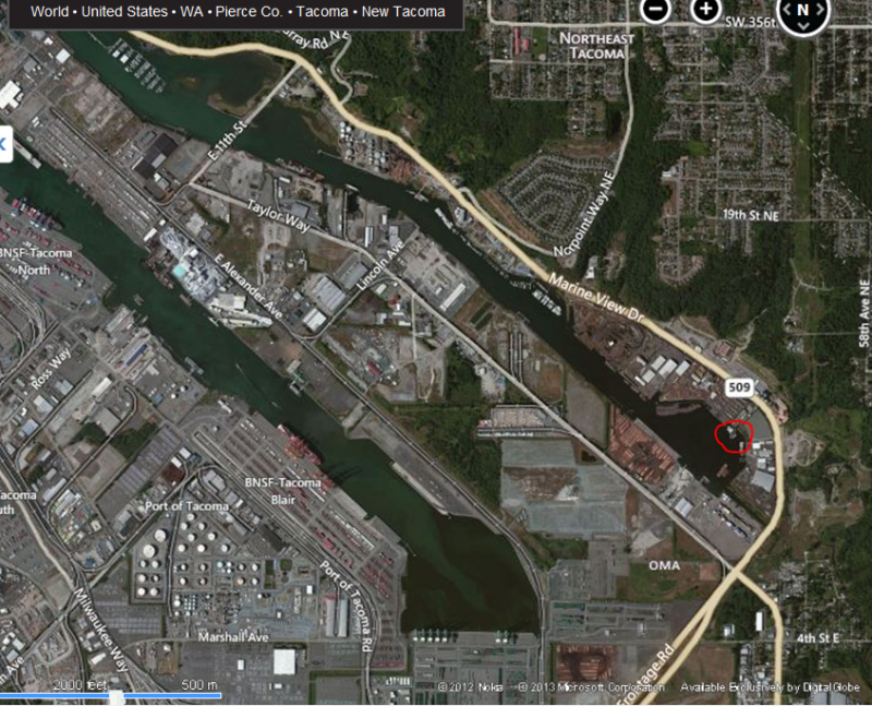 The location of the sinking vessels is circled in red. The last known owner is the bankrupt marina where they're located. The Hylebos Waterway is part of the Commencement Bay Superfund site in Tacoma, Washington.